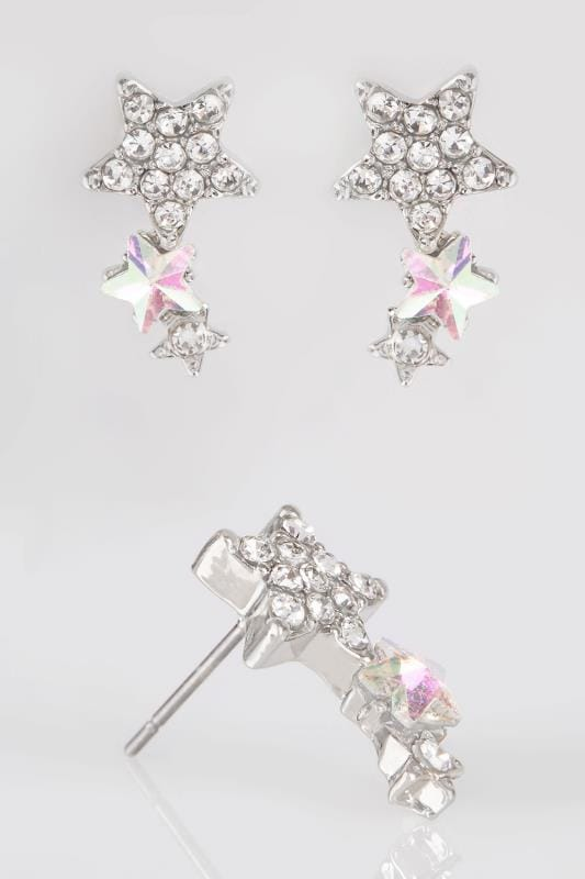 Earrings Silver & Iridescent Triple Star Stud Earrings 152368