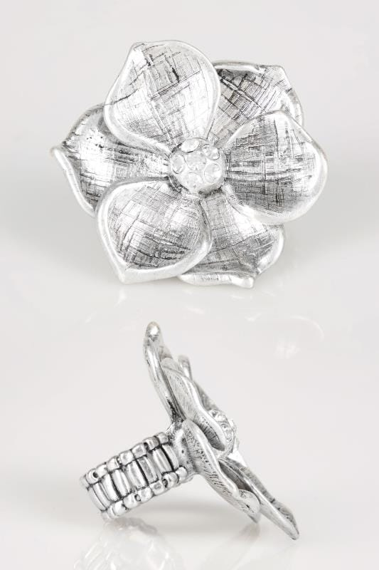 Silver Large Floral Stretch Ring With Diamante Details