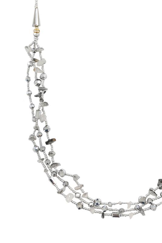 Silver Layered Beaded Long Necklace With Tonal Stones
