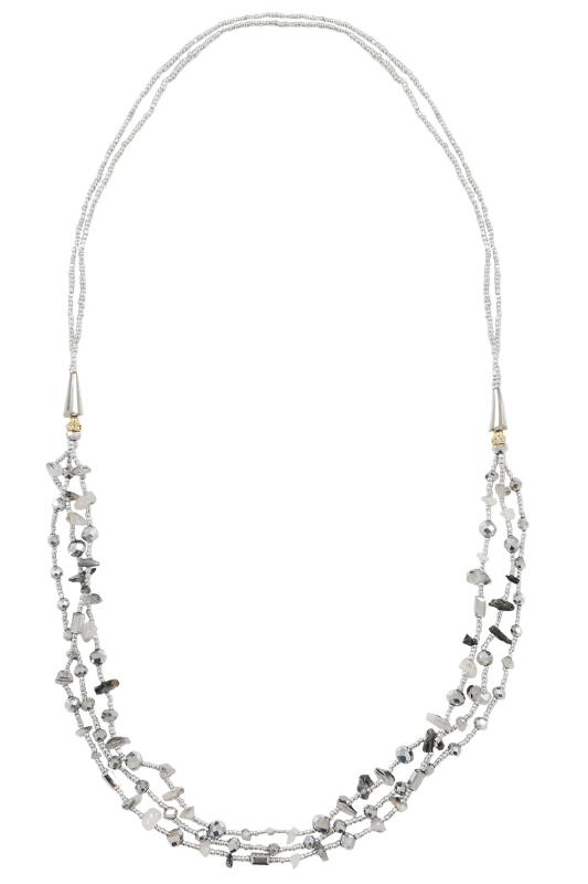 Jewellery Silver Layered Beaded Long Necklace With Tonal Stones 102758