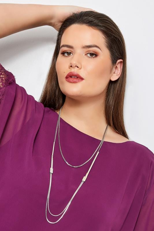 Plus Size Jewelry Silver Layered Chain Necklace