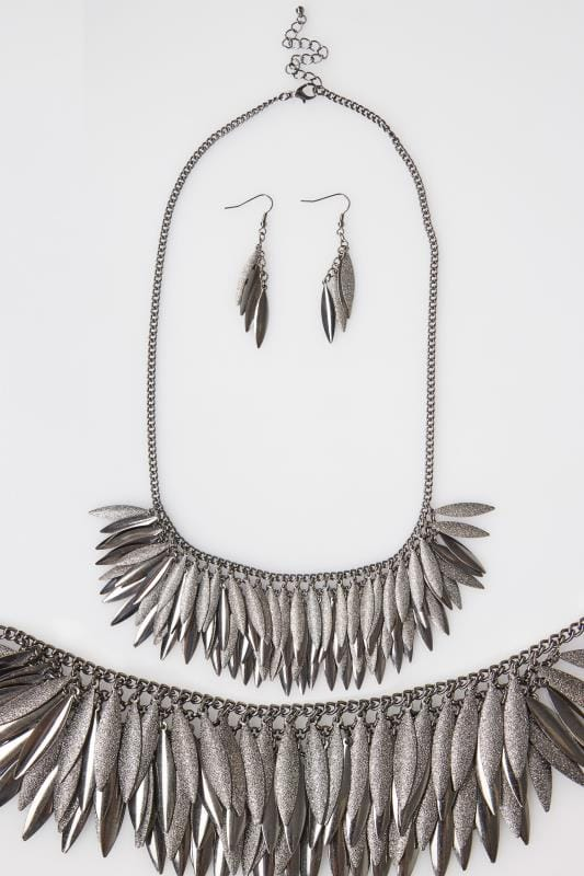 Silver Layered Leaf Necklace & Earrings