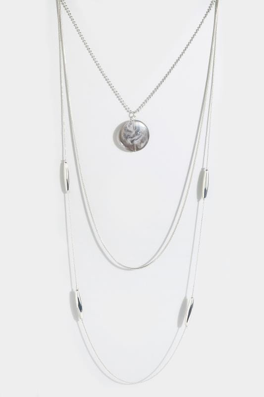 Plus Size Necklaces Silver Layered Pendant Necklace