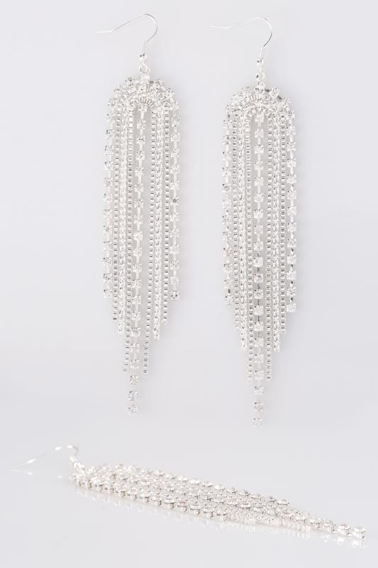Plus Size Jewellery Silver Long Drop Diamante Earrings