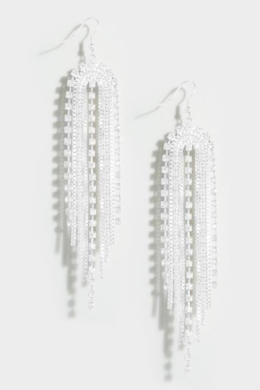 Silver Drop Diamante Earrings