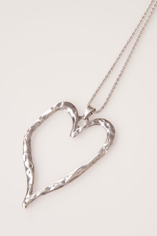 Silver Long Necklace With Large Heart Pendant