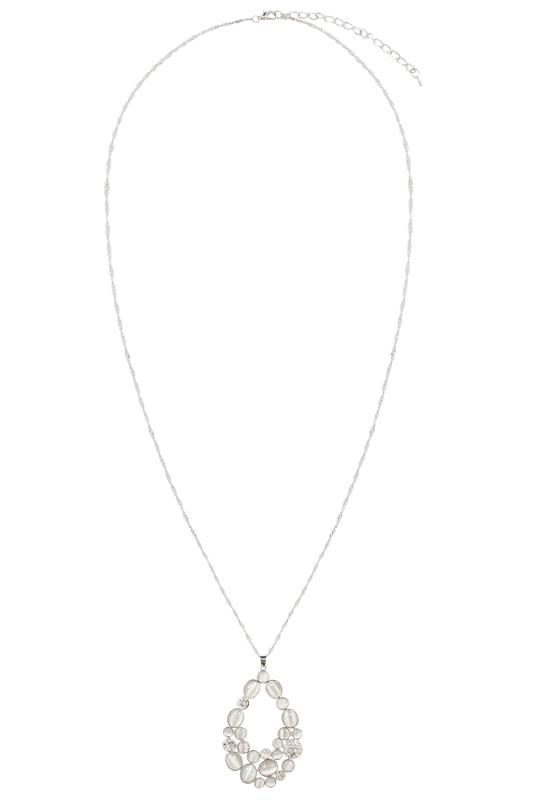 Silver Long Necklace With Tonal Stone Teardrop Pendant