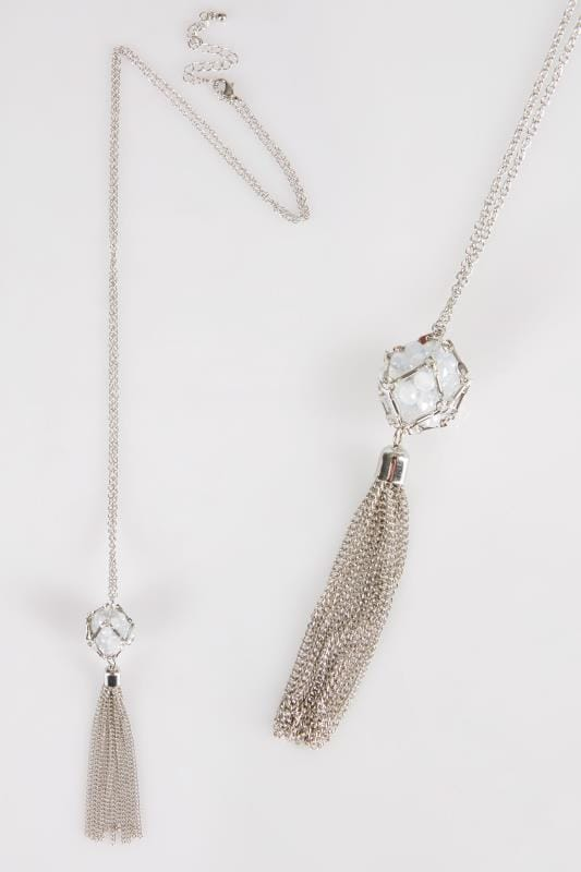 Silver Long Tassel & Bead Cluster Pendant Necklace