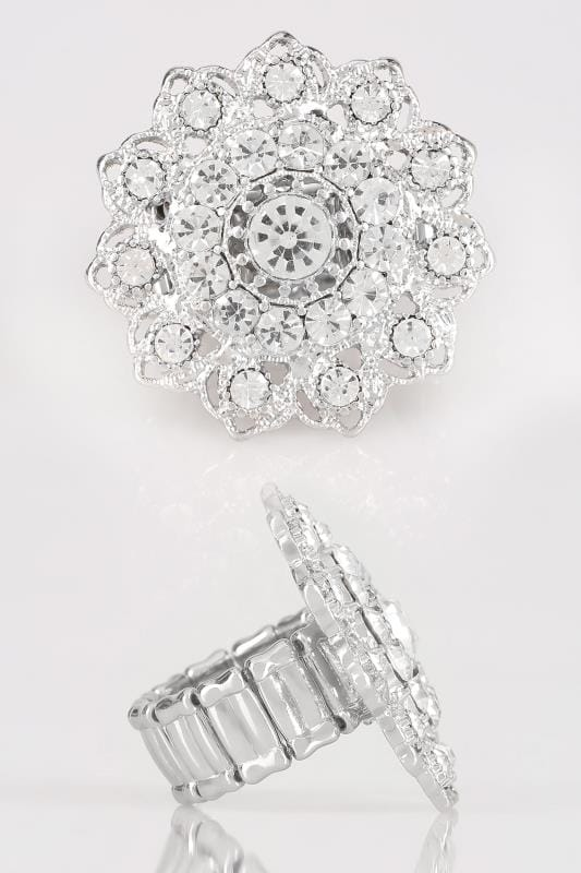 Plus Size Jewellery Silver Mandala Stretch Ring With Diamante Details