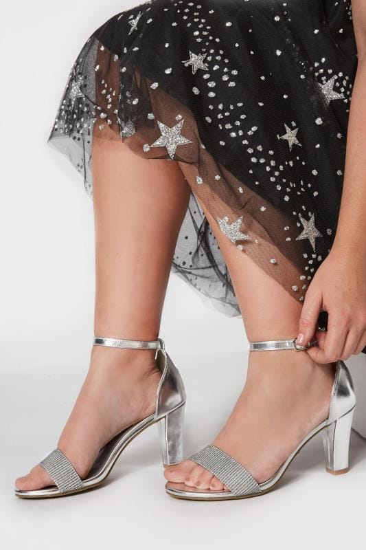 Plus Size Sandals Silver Metallic Heeled Sandals In EEE Fit