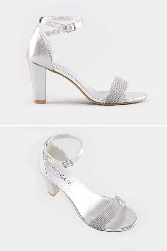 Silver Metallic Heeled Sandals In EEE Fit