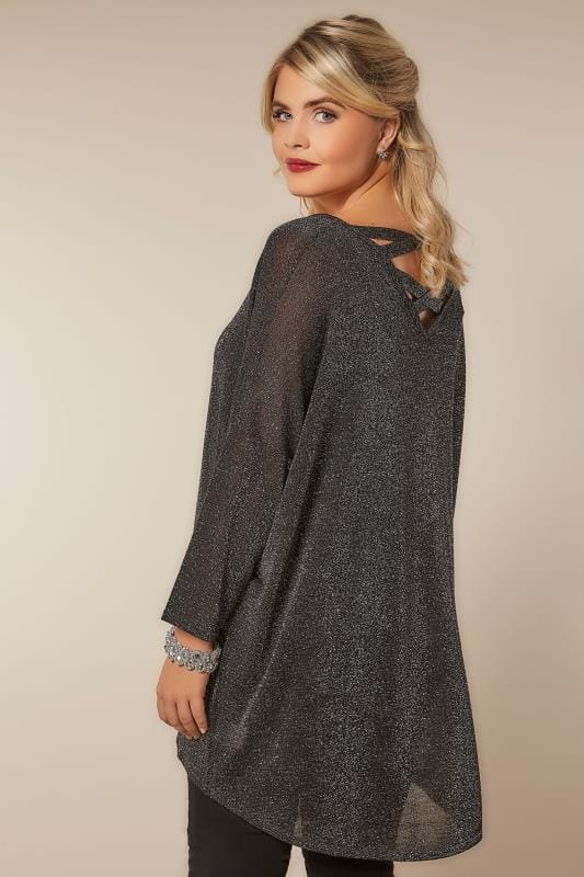 Party Tops Silver Metallic Longline Fine Knit Top With Cross-Over Straps & Dipped Hem 124065