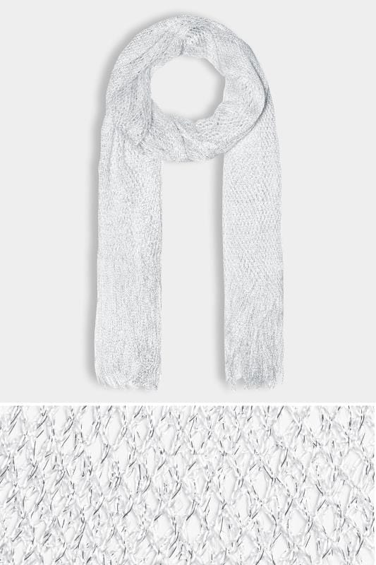 Plus Size Scarves Silver Metallic Netted Scarf
