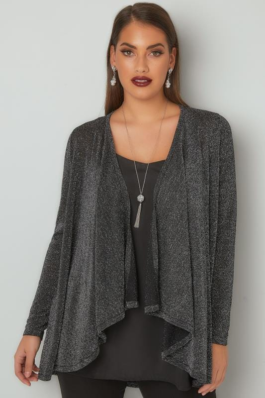 Silver Metallic Waterfall Cardigan
