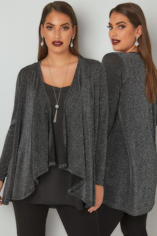 Gilets Silver Metallic Waterfall Cardigan 124067