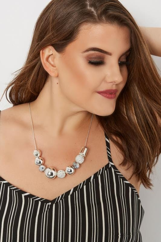 Plus Size Jewelry Silver Mixed Ball Necklace