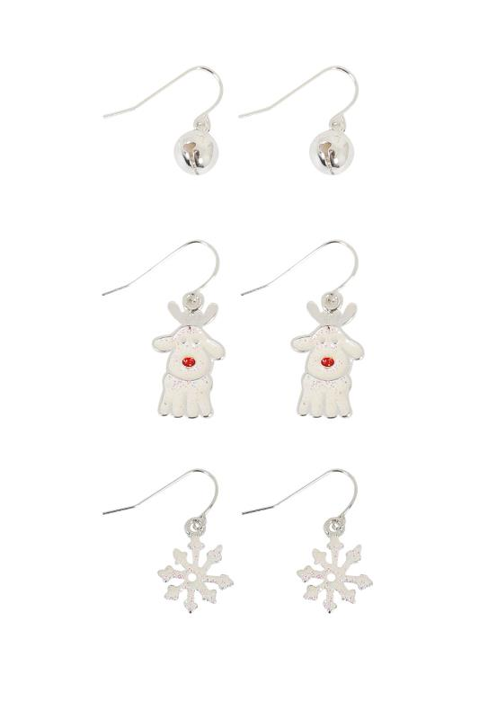 3 PACK Silver & Multi Christmas Themed Dangle Earrings