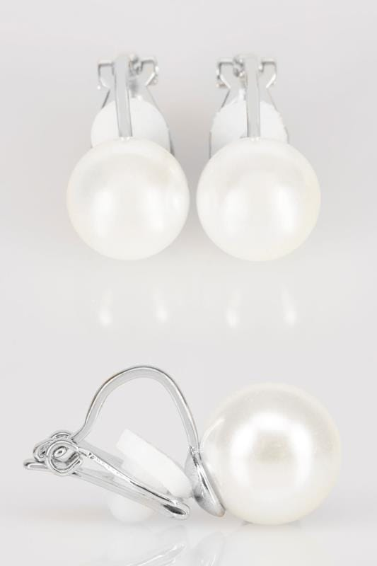 Plus Size Jewellery Silver Pearl Clip On Earrings