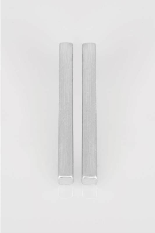 Silver Rectangular Bar Earrings