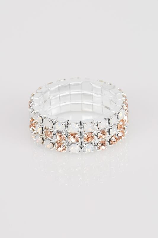Silver & Rose Diamante Stretch Ring