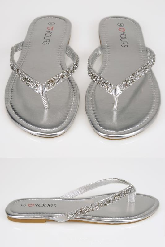 Wide Fit Flat Shoes Silver Sandals With Glitter Straps In TRUE EEE Fit