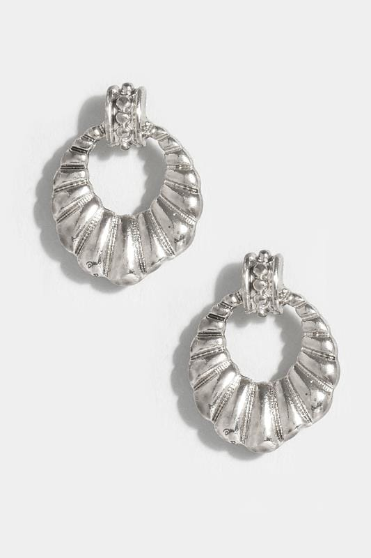 Silver Shell Circle Earrings
