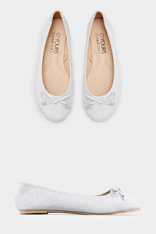 Silver Shimmer Ballerina Pumps In EEE Fit