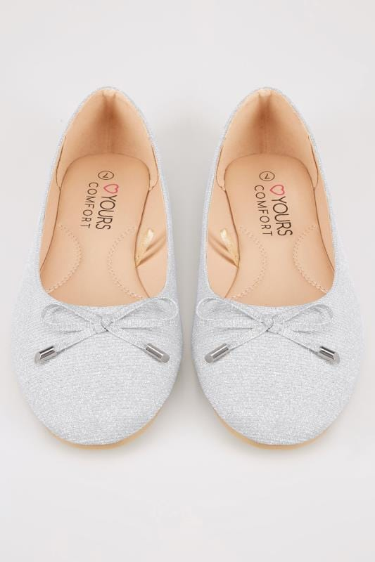 Silver Shimmer Ballerina Pumps In TRUE EEE Fit