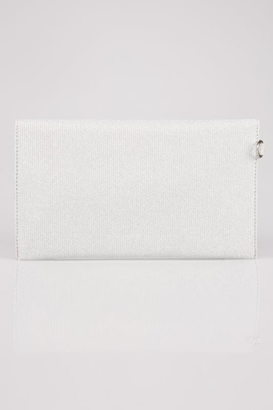 Silver Shimmer Envelope Clutch Bag
