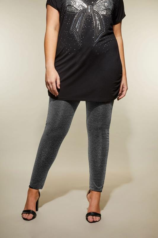 Plus Size Fashion Leggings Silver Shimmer Leggings
