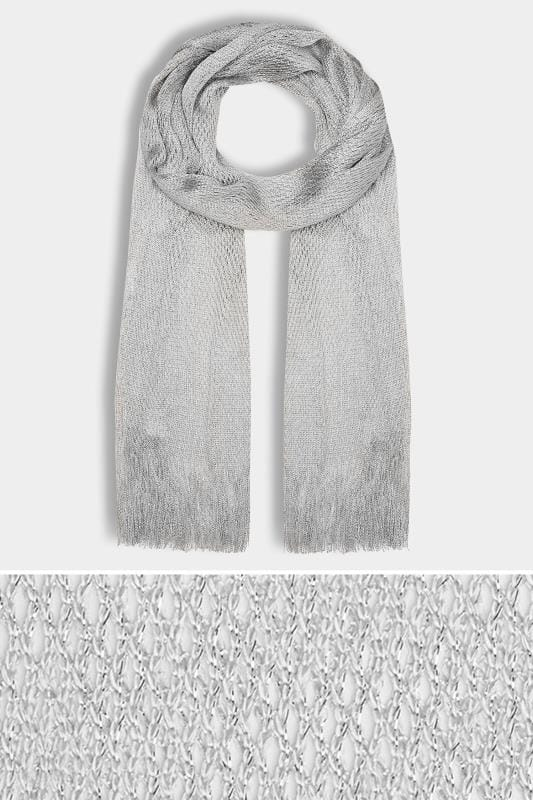 Plus Size Scarves Silver Shimmer Scarf With Fringing