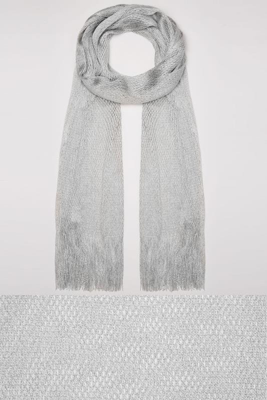 Silver Shimmer Scarf With Fringing