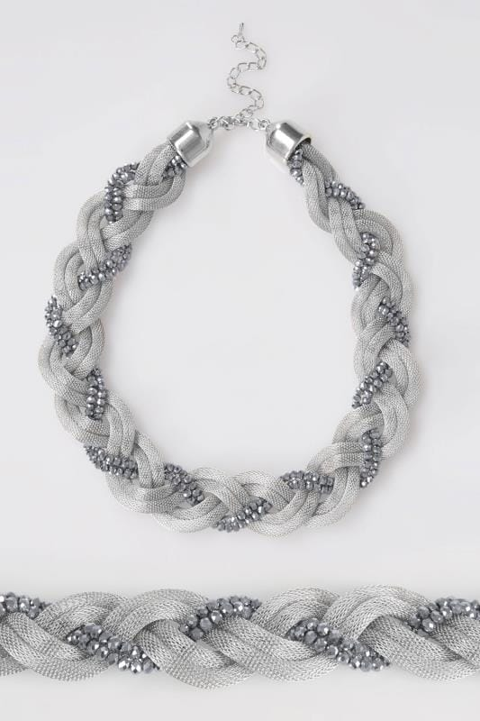 Plus Size Necklaces Silver Snake Chain & Bead Twisted Necklace
