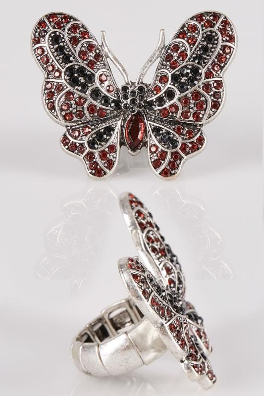 Red & Silver Diamante Butterfly Ring