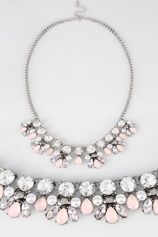 Silver & Pink Stone Necklace