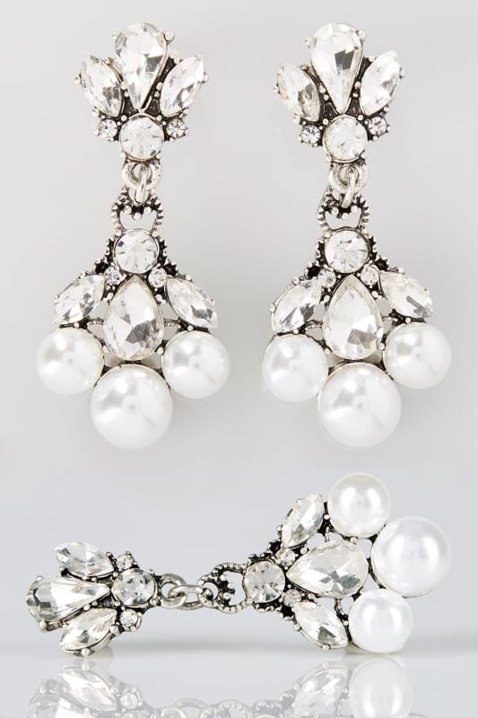 Earrings Silver Stone & Pearlescent Drop Earrings 152373