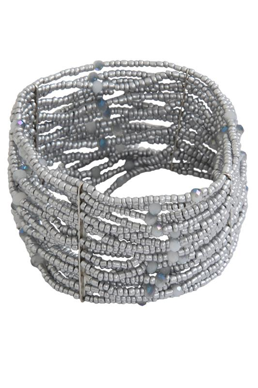 Silver Stretch Beaded Cuff Bracelet