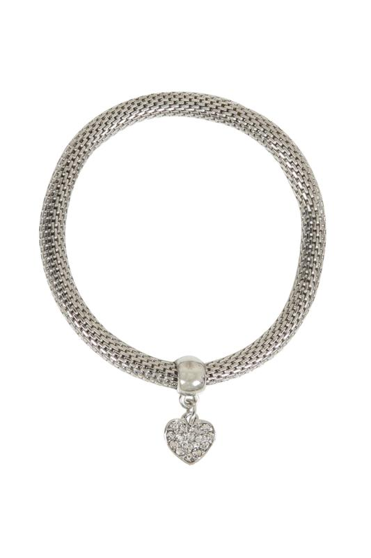 Silver Stretch Bracelet With Diamante Heart Charm