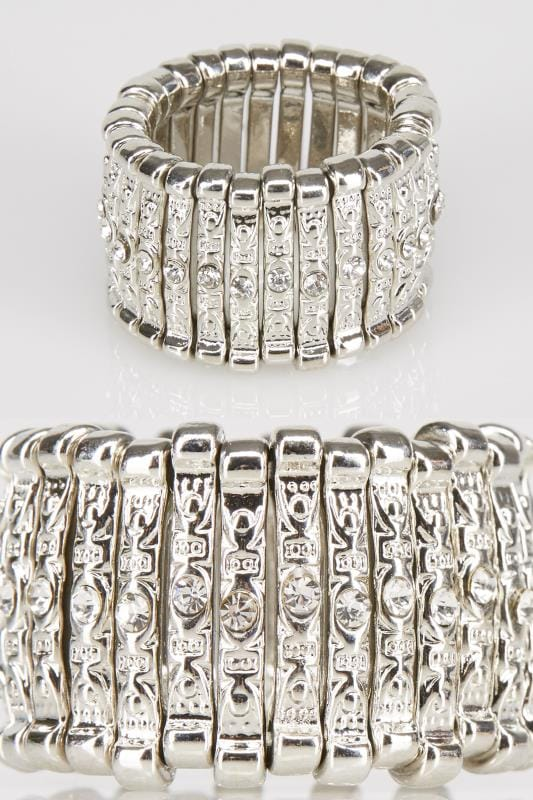 Plus Size Rings Silver Stretch Ring With Diamante Detail