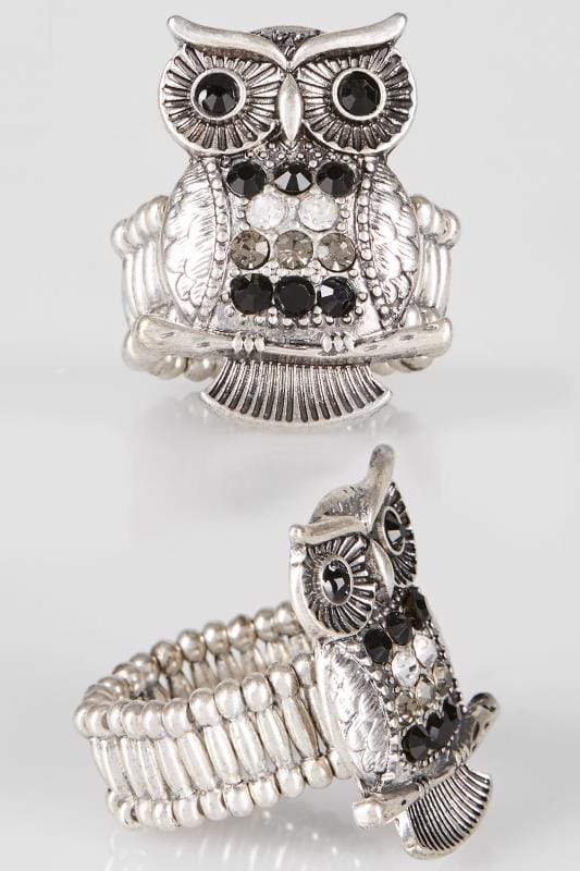 Silver Stretch Ring With Owl Design