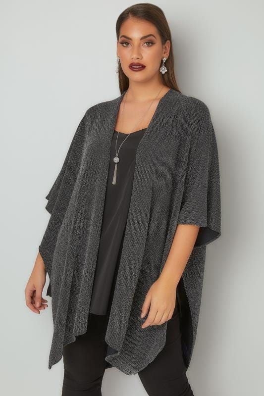 Plus Size Wraps Silver Textured Sparkle Wrap