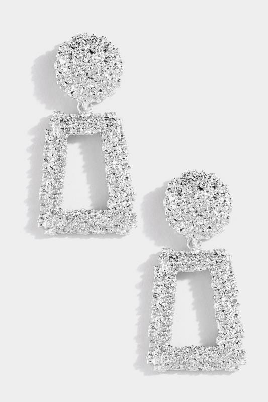 Plus Size Jewellery Silver Textured Square Earrings
