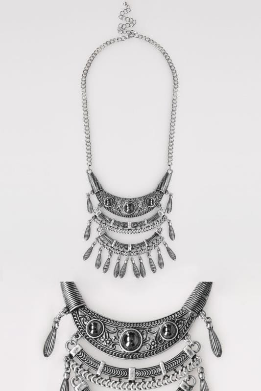 Grote maten Sieraden Silver Tribal Layer Pendant Necklace