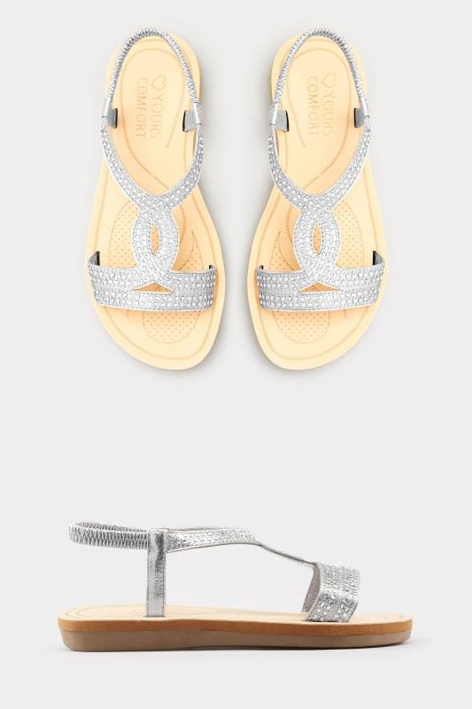 8aa0f21917 Silver Twist Diamante Sandals