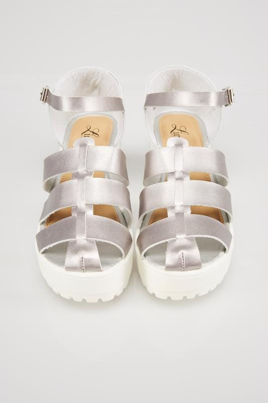 Silver & White Platform Gladiator Sandals In E Fit