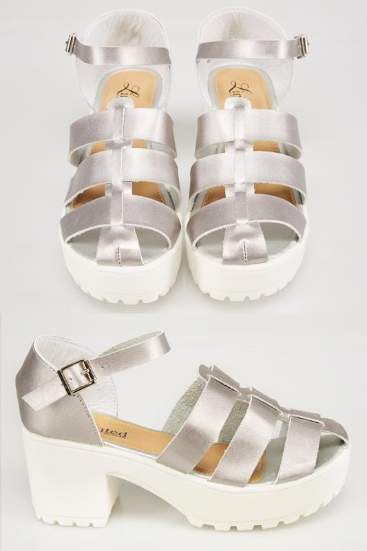 Wide Fit Wedges Silver & White Platform Gladiator Sandals In E Fit 053235