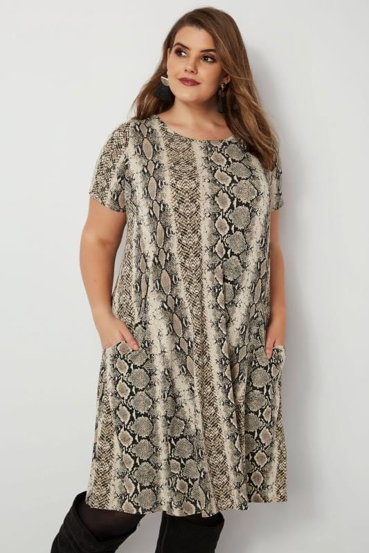 Snake Print Drape Pocket Dress