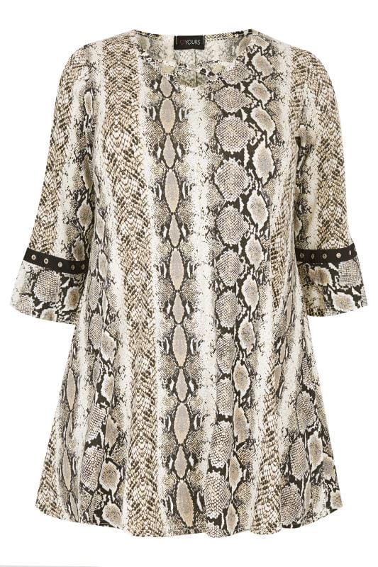 Plus Size Day Tops Snake Print Lattice Front Top With Eyelet Flute Sleeves