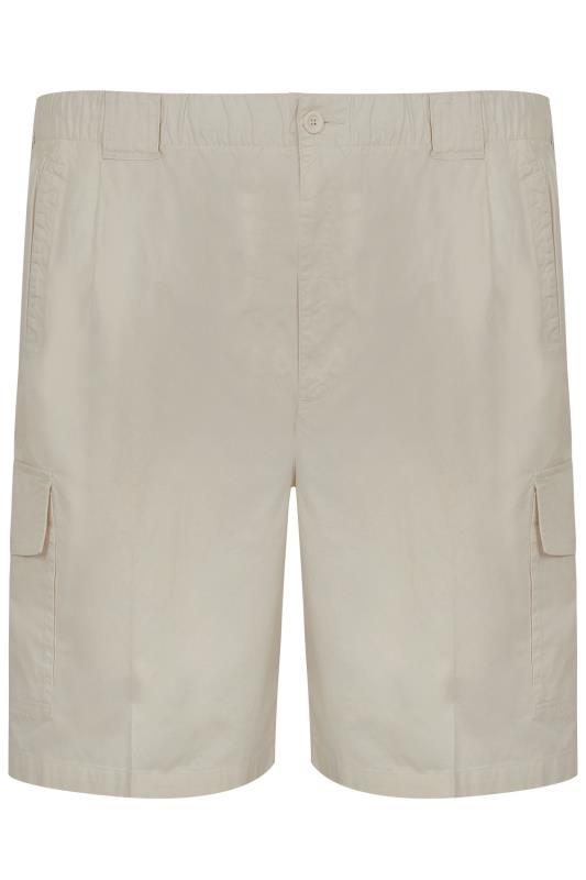 Stone Cargo Shorts With Elasticated Waist Band