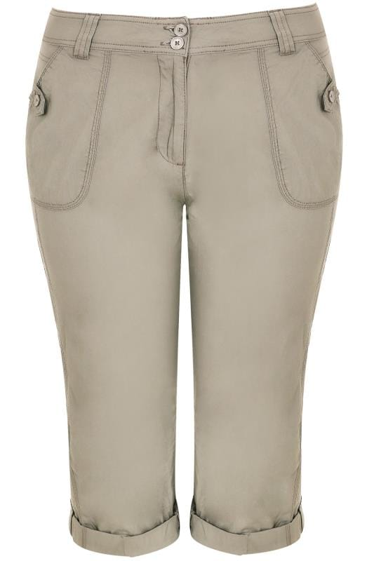Stone Cotton Cargo Cropped Trousers